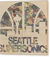 Seattle Supersonics Poster Vintage Wood Print