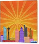 Seattle Washington City Skyline Panorama Wood Print