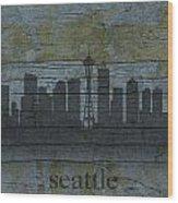 Seattle Washington City Skyline Silhouette Distressed On Worn Peeling Wood Wood Print