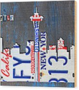 Seattle Washington Space Needle Skyline License Plate Art By Design Turnpike Wood Print