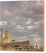 Seattle Waterfront Bathed In Golden Hour - Seattle Skyline - Puget Sound Washington State Wood Print
