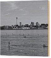 Seattle Waterfront Bw 2 Wood Print