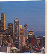 Seattle Winter Evening Panorama Wood Print