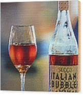 Secco Italian Bubbles Wood Print by Bill Tiepelman