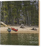 Secluded Beach Camp Wood Print