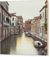 Secluded Canal In Venice Italy Wood Print