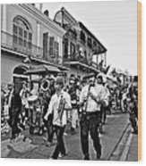 Second Line Parade Bw Wood Print