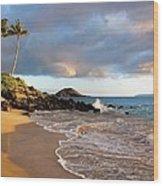 Secret Beach At Sunset Wood Print