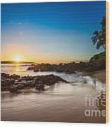 Secret Beach Sunset Wood Print