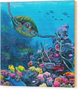 Secret Sanctuary - Hawaiian Green Sea Turtle And Reef Wood Print