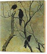Secretive Crows Wood Print