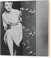 Secure Filing Cabinet Wood Print by Underwood Archives
