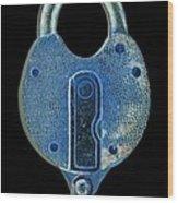 Secure - Lock On Black  Wood Print