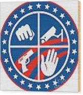 Security Cctv Camera Gun Fist Hand Circle Wood Print