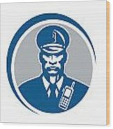 Security Guard Police Officer Radio Circle Wood Print by Aloysius Patrimonio