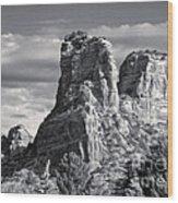 Sedona Arizona Mountain Peak - Black And White Wood Print