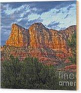 Sedona Arizona Sunset On Mountains Wood Print