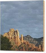 Sedona Illumated Mountains Wood Print
