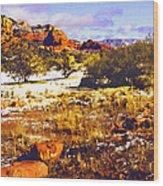 Sedona Winter Painting Wood Print