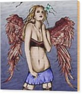 Seductive Angel Colored Wood Print
