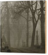 A Graveyard Seeped In Fog Wood Print