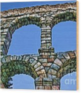 Segovia Aqueducts Blue By Diana Sainz Wood Print