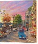 Seine Sunset Wood Print