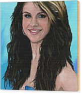 Selena Gomez Blue Wood Print by GCannon