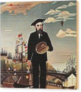 Self Portrait Wood Print by Henri Rousseau