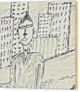 Self-portrait In Ny Wood Print