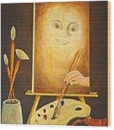 Self-portrait In Progress Wood Print by Pamela Allegretto