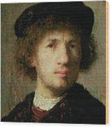 Self Portrait Wood Print by Rembrandt Harmenszoon van Rijn