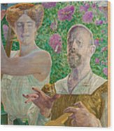 Self-portrait With Muse And Buddleia Wood Print