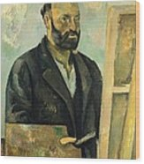 Self Portrait With Palette Wood Print