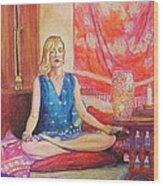 Self Portriat Meditating With Tarot Wood Print