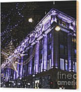 Selfridges London At Christmas Time Wood Print