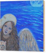 Selina Little Angel Of The Moon Wood Print by The Art With A Heart By Charlotte Phillips