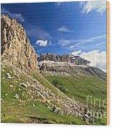 Sella Mountain And Pordoi Pass Wood Print