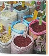 Selling Beans Nuts And Grains Wood Print