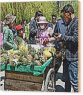 Selling Fresh Pineapple On Street In Lhasa-tibet    Wood Print