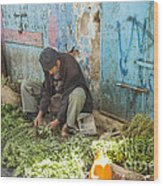 Selling Herbs In The Souk Wood Print