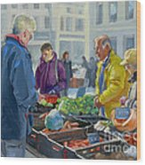Selling Vegetables At The Market Wood Print