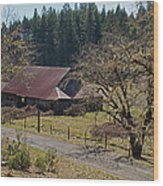 Selma Barn And Country Road Wood Print