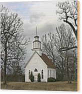 Selma United Methodist Church In Winter Wood Print