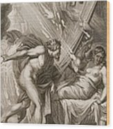 Semele Is Consumed By Jupiters Fire Wood Print by Bernard Picart