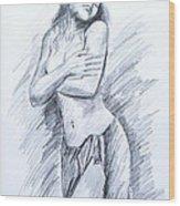 Semi Nude Wood Print