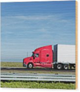 Semi Truck Moving On The Highway Wood Print