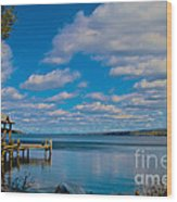 Seneca Lake At Glenora Point Wood Print