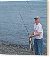 Senior Caught A Pollock In Kachemak Bay Off Homer Spit-alaska Wood Print