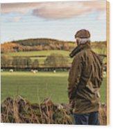 Senior man looking at field with sheep Wood Print